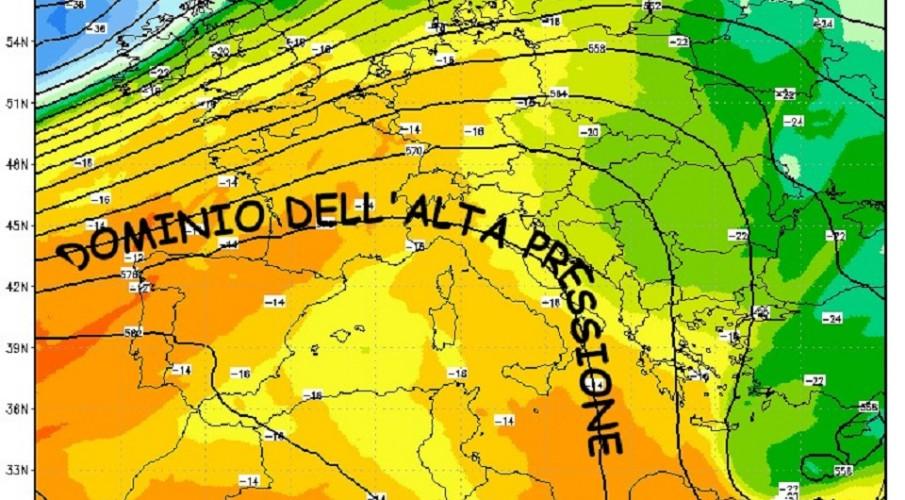 METEOEVENTI: L'ALTA PRESSIONE NON MOLLA
